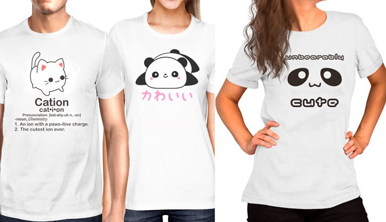 camisetas cute, panda y cation